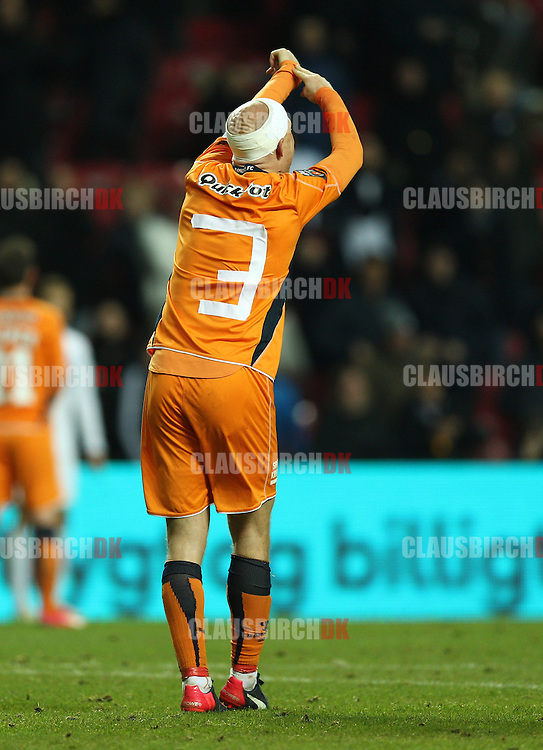 Christian Keller of Randers FC appeals for time wasting during the Danish DBU Pokalen Cup match between FC København and Randers FC at Telia Parken on March 5, 2015 in Copenhagen, Denmark. (Photo by Claus Birch)