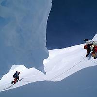 ANTARCTICA, Mountaineer in crevasse on Mt. Vaughan. Queen Maud Mtns.