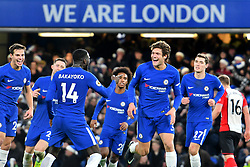 December 16, 2017 - London, England, United Kingdom - Chelsea Midfielder Marcos Alonso scores and celebrates with Midfielder Tiemoue Bakayoko during the Premier League match between Chelsea and Southampton at Stamford Bridge, London, England on 16 Dec 2016. (Credit Image: © Kieran Galvin/NurPhoto via ZUMA Press)