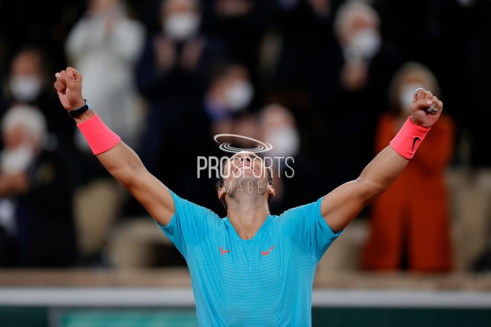 RAFAEL NADAL (ESP) won his 100 th match and his 13 th Roland Garros, celebration during the Roland Garros 2020, Grand Slam tennis tournament, women single final, on October 9, 2020 at Roland Garros stadium in Paris, France - Photo Stephane Allaman / ProSportsImages / DPPI