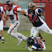 (Photograph by Bill Gerth/ for SVCN/6/24/17) Westmont #15 Nolan Berry looks for yardage  in the Charie Wedemeyer All Star Game at Levi Stadium, San Jose CA on 6/24/17. (North 13 South 13)