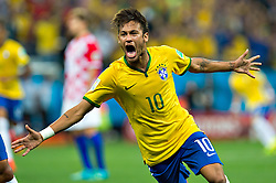 June 12, 2014 - Sao Paulo, SP, BRASIL -  Brazil's NEYMAR celebrates after scoring during the group A World Cup soccer match against Croatia, at Corinthians Arena, in Sao Paulo, Brazil.  Brazil won 3-1. (Credit Image: © Jorge Martinez/Fotoarena/ZUMAPRESS.com)