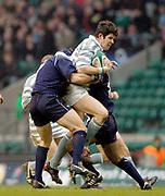 Twickenham, Surrey, UK., 7th December 2004, Varsity Match, Oxford University RFC vs Cambridge University RFC, RFU Stadium, [Mandatory Credit: Pete Spurrier/Intersport Images],<br /> Edward carters attack is stopped by the Oxford defence.