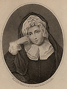 Rachel, Lady Russell (1636-1723), born Rachel Wriothesley, wife of William, Lord Russell 'the patriot', English Whig statesman. Acted; acted as husband's 'writer' during his trial for complicity in Rye House Plot, 1683.  Russell was found guilty of treason and beheaded. Stipple engraving after portrait in Woburn Abbey.