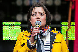 London, UK. 16th March, 2019. Rokhsana Fiaz, Mayor of Newham, addresses thousands of people on the March Against Racism demonstration on UN Anti-Racism Day against a background of increasing far-right activism around the world and a terror attack yesterday on two mosques in New Zealand by a far-right extremist which left 49 people dead and another 48 injured.