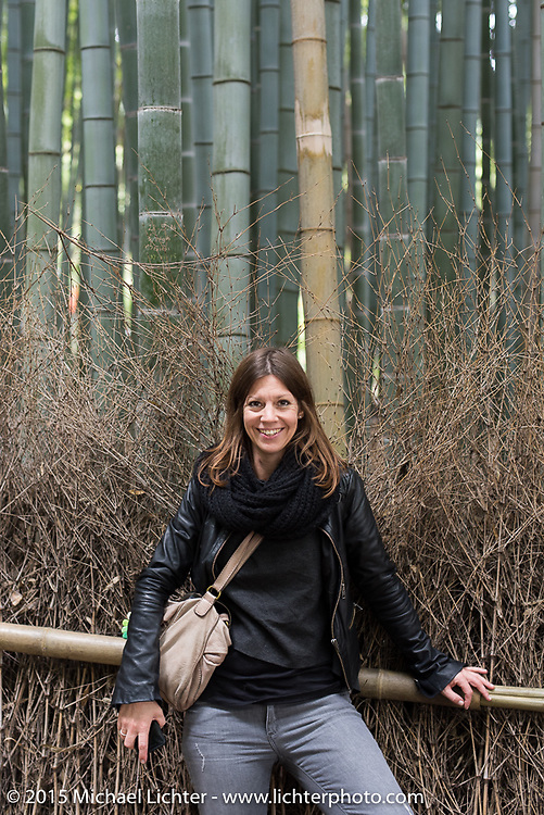 Pamela in a bamboo forest, Kyoto, Japan. December 10, 2015.  Photography ©2015 Michael Lichter.