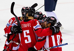 Players of Austria celebrate during ice-hockey match between Austria and Slovenia of Group G in Relegation Round of IIHF 2011 World Championship Slovakia, on May 7, 2011 in Orange Arena, Bratislava, Slovakia. (Photo By Vid Ponikvar / Sportida.com)