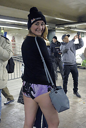January 7, 2018 - New York, New York, United States - Participants at the annual 'No Pants Subway Ride' in Midtown Manhattan on January 7 2018 in New York City  (Credit Image: © Curtis Means/Ace Pictures via ZUMA Press)