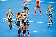 Argentina celebrate scoring their first goal. Great Britain v Argentina  - Hockey Champions Trophy, Lee Valley Hockey & Tennis Centre, London, UK on 18 June 2016. Photo: Simon Parker