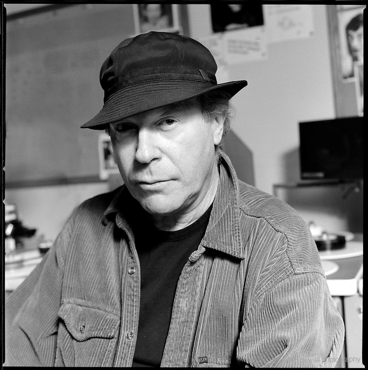 Henry Jaglom posses at his editing bay at Rainbow Films, West Hollywood, Ca. February 14th,  2002.