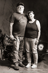 Vickie and Rick Salisbury with Ricks 1944 Harley-Davidson Knucklehead (and sidecar) during the Cross Country Chase motorcycle endurance run from Sault Sainte Marie, MI to Key West, FL (for vintage bikes from 1930-1948). Photographed at the end of the Stage 7 ride from Macon, GA to Tallahassee, FL USA. Thursday, September 12, 2019. Photography ©2019 Michael Lichter.