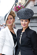 Louise Dowling, Roscommon, and her sister Martha Lynn Roscommon at  the Hotel Meyrick Best dressed competition in Eyre Square during Galway's Race week. Photo:Andrew Downes