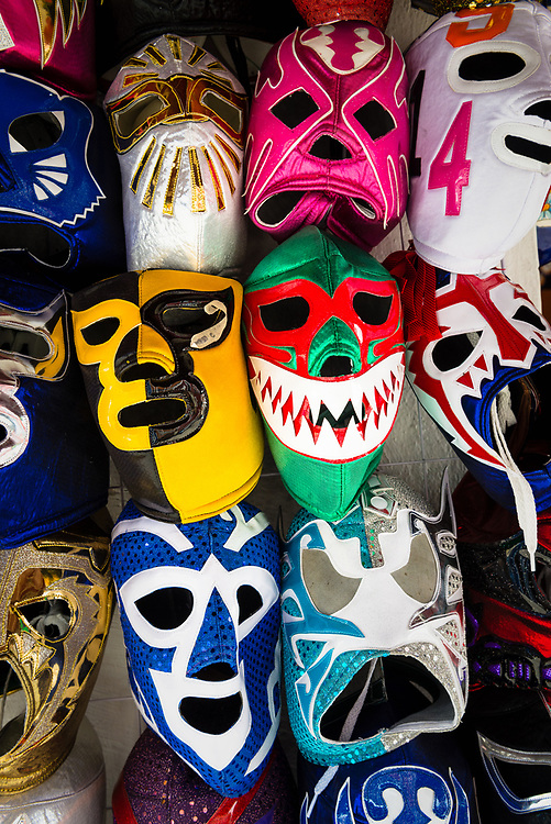 Mexican wrestling masks for sale in a market stall