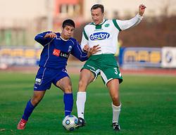Naser Kajtazi of Drava vs Miha Sporar of Olimpija  at 18th Round of PrvaLiga football match between NK Olimpija and NK Labod Drava, on November 21, 2009, in ZAK, Ljubljana, Slovenia. Olimpija defeated Drava 3:0. (Photo by Vid Ponikvar / Sportida)