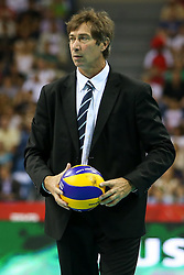 06.09.2014, Krakow Arena, Krakau, POL, FIVT WM, USA vs Frankreich, Gruppe D, im Bild Trener Laurent Tillie (FRA) // during the FIVB Volleyball Men's World Championships Pool B Match beween USA and France at the Krakow Arena in Krakau, Poland on 2014/09/06. EXPA Pictures © 2014, PhotoCredit: EXPA/ Newspix/ Tomasz Jastrzebowski<br /> <br /> *****ATTENTION - for AUT, SLO, CRO, SRB, BIH, MAZ, TUR, SUI, SWE only*****