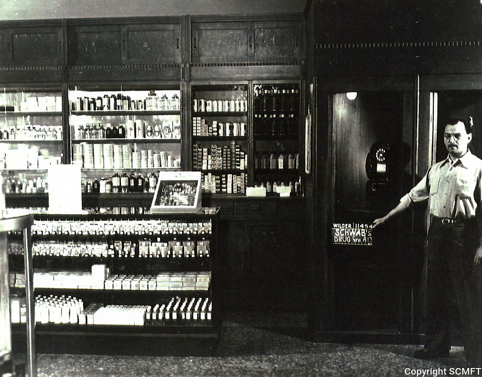 """1949 Movie technician at Schwab's Drugstore during filming """"Sunset Boulevard"""""""