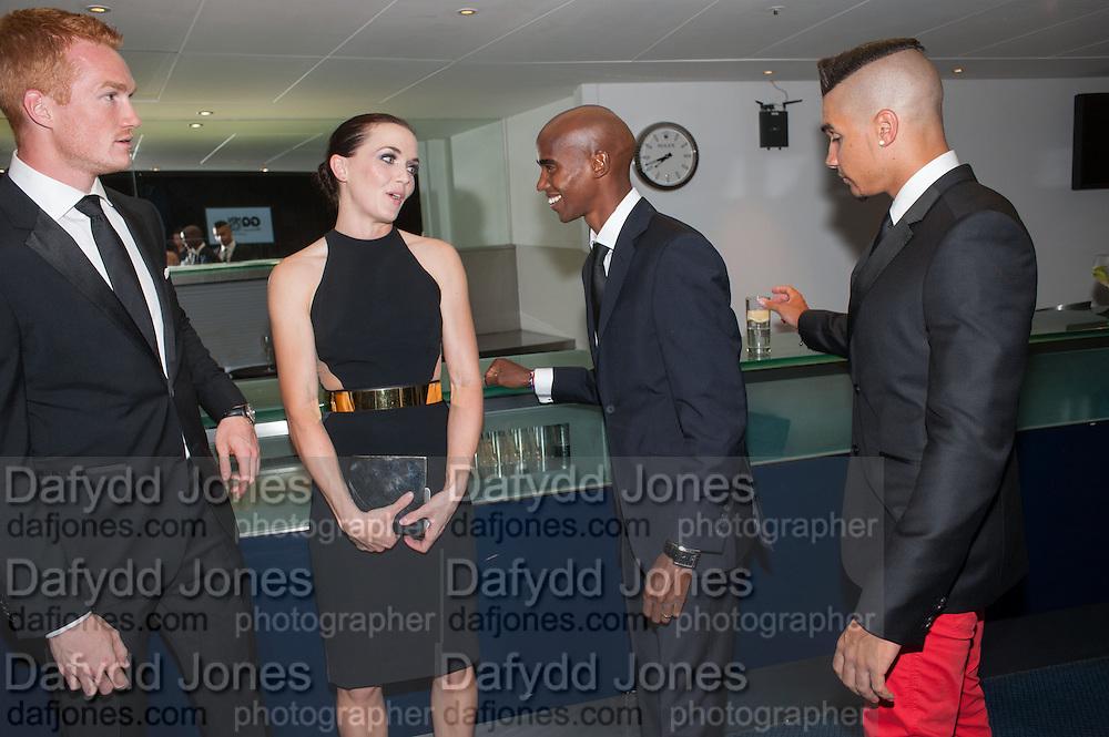 Greg Rutherford, Mo Farah; ; Victoria Pendleton  2012 GQ Men of the Year Awards,  Royal Opera House. Covent Garden, London.  3 September 2012