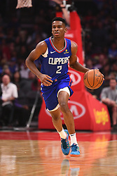 October 19, 2018 - Los Angeles, CA, U.S. - LOS ANGELES, CA - OCTOBER 19: Los Angeles Clippers Guard Shai Gilgeous-Alexander (2) brings the ball up the court during a NBA game between the Oklahoma City Thunder and the Los Angeles Clippers on October 19, 2018 at STAPLES Center in Los Angeles, CA. (Credit Image: © Brian Rothmuller/Icon SMI via ZUMA Press)