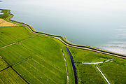Nederland, Noord-Holland, Amsterdam, 05-08-2014; Waterland met Waterlandse Zeedijk (Uitdammerdijk) en IJsselmeer<br /> Waterland with (former) seawalll, near Amsterdam. IJssel lake.<br /> luchtfoto (toeslag op standard tarieven);<br /> aerial photo (additional fee required);<br /> copyright foto/photo Siebe Swart
