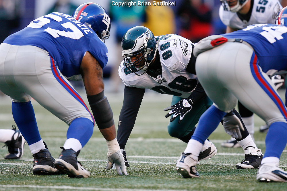 11 Jan 2009: Philadelphia Eagles defensive tackle Mike Patterson #98 during the game against the New York Giants on January 11th, 2009.  The  Eagles won 23-11 at Giants Stadium in East Rutherford, New Jersey.