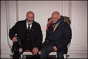 RICHARD YOUNG AND DAVID BAILEY at the Private view for A Strong Sweet Smell of Incense<br /> A Portrait of Robert Fraser, Curated by Brian Clarke. Pace Gallery. 6 Burlington Gardens. London. 5 February 2015.