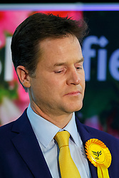 © Licensed to London News Pictures. 08/05/2015. SHEFFIELD, UK. Nick Clegg reacts as the 2015 General Election results for Sheffield Hallam Constituency are being read at on Friday, 8 May 2015. Nick Clegg has been re-elected to Sheffield Hallam but Liberal Democrats suffered great losses across the UK. Photo credit: Tolga Akmen/LNP