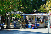 Entrance to Strossmayer Promenade and Town Square Park. Petrinja, Croatia