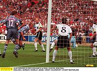 ALAN SHEARER SCORES ENGLAND'S 1st GOAL. EURO'96, SEMI-FINAL, ENGLAND v GERMANY, WEMBLEY, 26/6/96.  CREDIT: COLORSPORT / STUART MACFARLANE