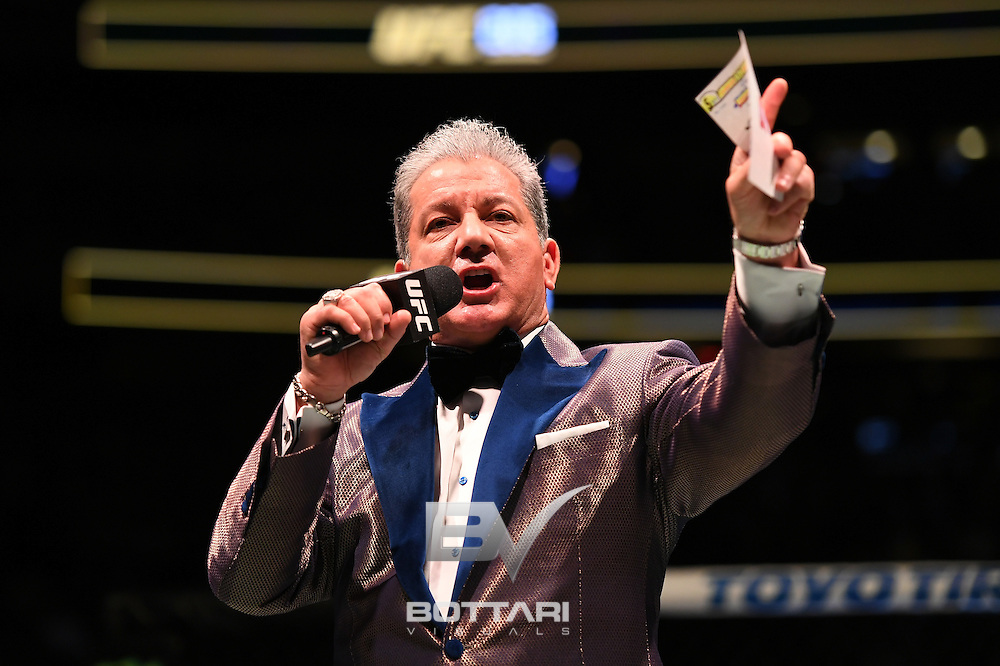 NEW YORK, NY - NOVEMBER 12: Bruce Buffer introduces the women's strawweight championship bout between Joanna Jedrzejczyk of Poland and Karolina Kowalkiewicz of Poland during the UFC 205 event at Madison Square Garden on November 12, 2016 in New York City.  (Photo by Jeff Bottari/Zuffa LLC/Zuffa LLC via Getty Images)