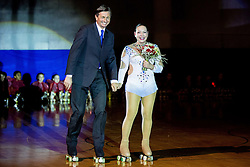Borut Pahor, president of Slovenia and Lucija Mlinaric during special artistic roller skating event when Lucija Mlinaric of Slovenia, World and European Champion ended her successful sports career, on November 7, 2015 in Rence, Slovenia. Photo by Vid Ponikvar / Sportida