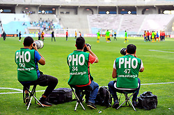 May 12, 2017 - Rades, Tunisia - Sports photographers during the First day of the group stage of the Champions League  2017 Total  between Esperance Sportive de Tunis (EST) and the formation of AS Vita Club (RD Congo) at the Rades stadium..The Esperance Sportive de Tunis (EST) won by 3/1. (Credit Image: © Chokri Mahjoub via ZUMA Wire)