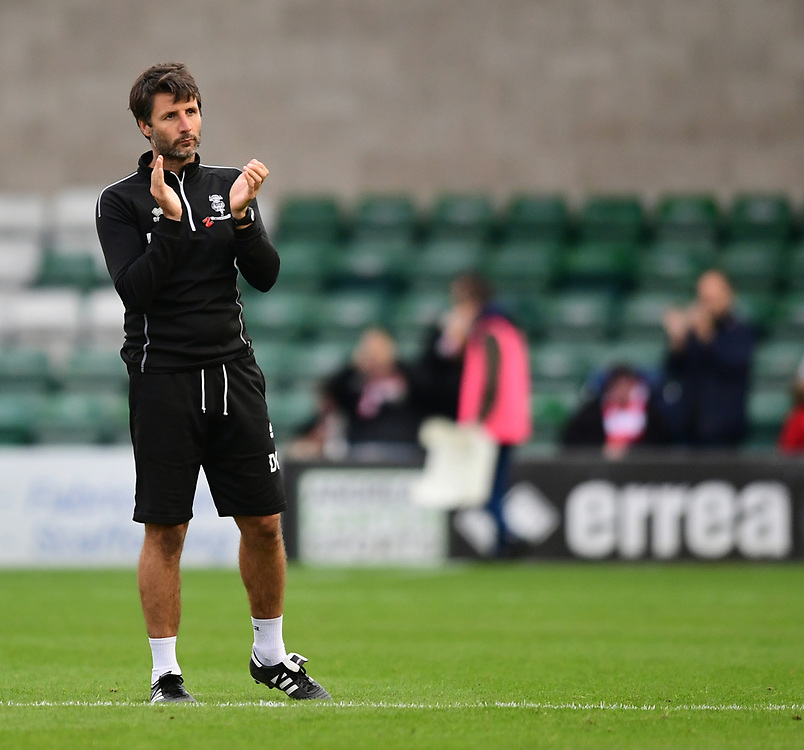 Lincoln City manager Danny Cowley applauds the fans at the final whistle<br /> <br /> Photographer Chris Vaughan/CameraSport<br /> <br /> The EFL Sky Bet League Two - Lincoln City v Crawley Town - Saturday September 8th 2018 - Sincil Bank - Lincoln<br /> <br /> World Copyright © 2018 CameraSport. All rights reserved. 43 Linden Ave. Countesthorpe. Leicester. England. LE8 5PG - Tel: +44 (0) 116 277 4147 - admin@camerasport.com - www.camerasport.com