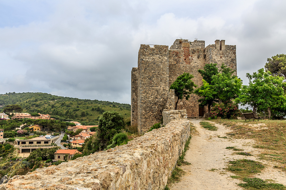 Talamone fortress in Tuscany, Italy. The Aldobrandeschi family built Rocca Aldobrandesca di Talamone in the middle ages.