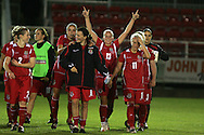2011 FIFA Women's World Cup Qualifying match, Wales v Czech Republic at Stebonheath Park, Llanelli on Wed 23rd September 2009. pic by Andrew Orchard..Wales players celebrate at the end of the match after winning 2-0