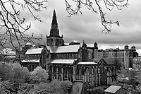 Cloudy skies over Glasgow Cathedral, also called the High Kirk of Glasgow or St Kentigern's or St Mungo's Cathedral.