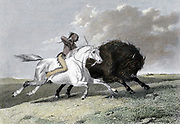 North American Indian, mounted on horse, hunting buffalo (Noth American Bison) with a bow and arrow. Hand-coloured engraving 1861.