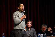 President of the Professional Fire Fighters of Wisconsin Mahlon Mitchell speaks during the public forum for Democratic gubernatorial candidates at LaFollete High School in Monona, Wisconsin, Sunday, Jan. 28, 2018.