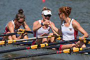 Plovdiv BULGARIA. 2017 FISA. Rowing World U23 Championships. <br /> USA BLW4X. Two and Three, touch fists before the start of their heat. Bow. CRUSE, Anna, KARR-WARNER, Makayla, HOPKINS, Emma and HAGERMAN, Janice<br /> Wednesday. PM,  Heats 16:23:08  Wednesday  19.07.17   <br /> <br /> [Mandatory Credit. Peter SPURRIER/Intersport Images].