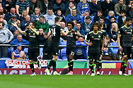 Willian of Chelsea celebrates (c) with his teammates after scoring his teams 3rd goal. Premier league match, Everton v Chelsea at Goodison Park in Liverpool, Merseyside on Sunday 30th April 2017.<br /> pic by Chris Stading, Andrew Orchard sports photography.