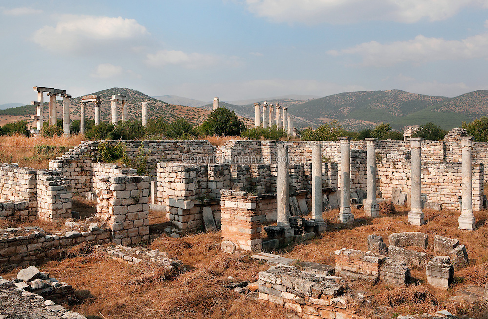 Bishop's Palace, built 400 AD, with the Temple of Aphrodite in the background, Aphrodisias, Aydin, Turkey. This is the largest house in the city, occupying a full city block, about 35x40m. It has a typical plan, centred on an open courtyard. It may have been the residence of a Roman governor or of the Christian bishop of Aphrodisias. Aphrodisias was a small ancient Greek city in Caria near the modern-day town of Geyre. It was named after Aphrodite, the Greek goddess of love, who had here her unique cult image, the Aphrodite of Aphrodisias. The city suffered major earthquakes in the 4th and 7th centuries which destroyed most of the ancient structures. Picture by Manuel Cohen