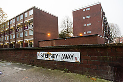 """© Licensed to London News Pictures. 20/11/2014. London, UK. A general view of Stepney Way near Sir John Cass Foundation and Redcoat Church of England Secondary school, in Stepney, east London. The school is expected to be placed in """"special measures"""" by the education standards watchdog, Ofstead for failing to monitor the activities of an Islamic society set up by sixth-formers at the school and has been criticised for the allowing segregation between boys and girls in the playground. Photo credit : Vickie Flores/LNP"""