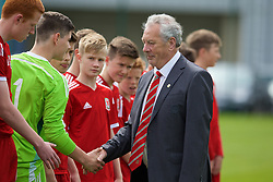 NEWPORT, WALES - Wednesday, May 27, 2015: FAW Council member Viv Edwards meets the Regional Development Boys during the Welsh Football Trust Cymru Cup 2015 at Dragon Park. (Pic by David Rawcliffe/Propaganda)
