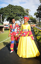07062018 (Durban) Musa Mathebula and Lindo Mathebula own designs arriving in style the adrenaline of Vodacom Durban July flowing like water among the massive crowd expected at Greyville Racecourse in Durban for the running of the R4.25 million, Grade 1, Vodacom Durban July, the greatest racing, fashion and entertainment extravaganza on the African continent.<br /> Picture: Motshwari Mofokeng/African News Agency/ANA
