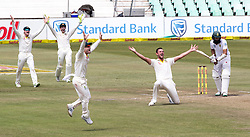 Durban. 040318. Josh Hazlewood of Australia appeals for the wicket of Hashim Amla of the Proteas during day 4 of the 1st Sunfoil Test match between South Africa and Australia at Sahara Stadium Kingsmead on March 04, 2018 in Durban, South Africa. Picture Leon Lestrade/African News Agency/ANA