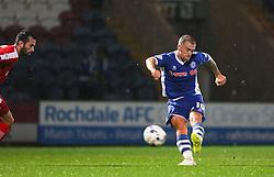 Lewis Alessandra scores Rochdale's second goal for 2-1  - Mandatory byline: Matt McNulty/JMP - 07966 386802 - 06/10/2015 - FOOTBALL - Spotland Stadium - Rochdale, England - Rochdale v Chesterfield - Johnstones Paint Trophy