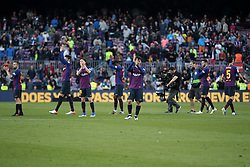 May 12, 2019 - Barcelona, Spain - the Barça players applauding the public at the end of the match between FC Barcelona angd Getafe, corresponding to the round 37 of the Liga Santander, played at the Camp Nou Stadium, on 12th May 2019, in Barcelona, Spain. (Credit Image: © Joan Valls/NurPhoto via ZUMA Press)