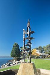 United States, Washington, Kirkland, fountain at Marina Park in fall