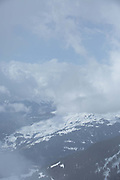 Clouds closing in at Laax ski resort on 5th April 2018 in Switzerland