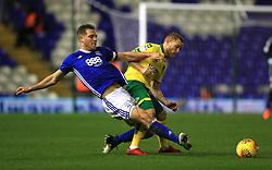 Birmingham City's Michael Morrison and Norwich City's Alex Pritchard battle for the ball