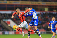Jim McNulty, Jason Demetriou during the Sky Bet League 1 match between Walsall and Rochdale at the Banks's Stadium, Walsall, England on 2 January 2016. Photo by Daniel Youngs.